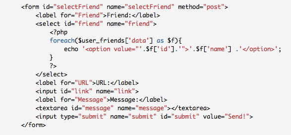 Example Facebook PHP SDK: Post to Friend's wall
