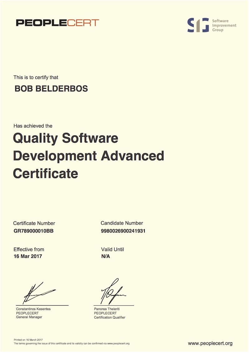 Quality software advanced certificate