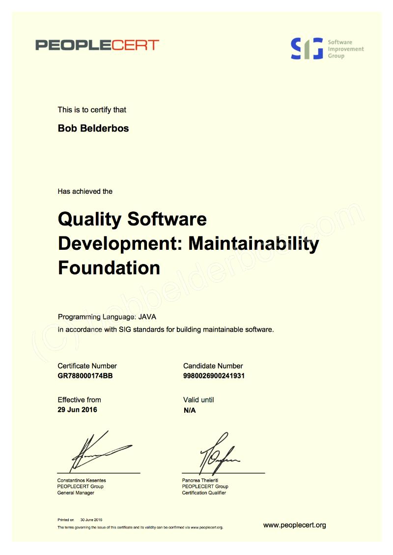 Quality software certificate