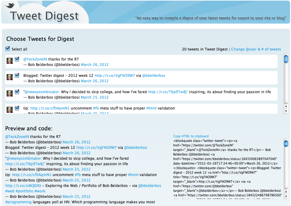 tweet digest query